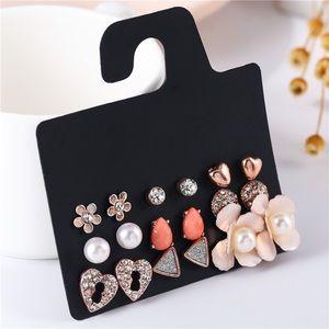 Stud earrings 9 pairs